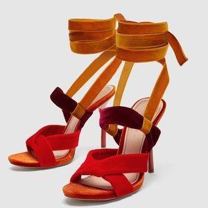 Zara Multi Velvet Ankle Wrap Heels sz 41